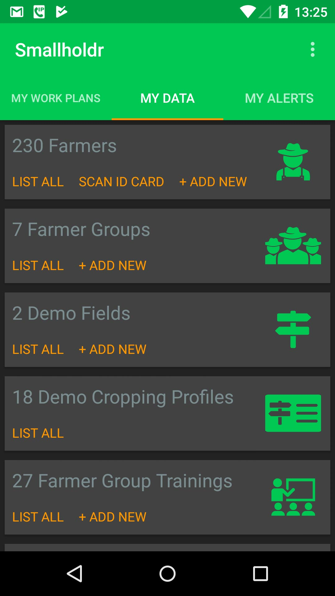 A typical Smallholdr mobile app screen :  Empowers the extension worker with key data at their fingertips.